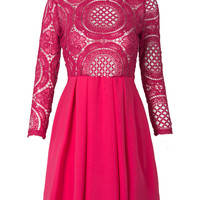 Medium Violet Red High Neck Crochet Lace Panel Skater Dress
