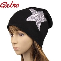 Geebro Female Solid Star Knitted Hat Girls Sequins Cap Women Slouchy Baggy Autumn Winter Warm Beanies & Skullies Headwear JS259