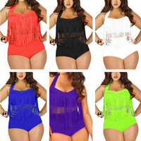 Plus Size Tassels Swimsuit Women Braided Fringe Two Piece Bikini Set High Waist Push Up Padded Bathing Suits