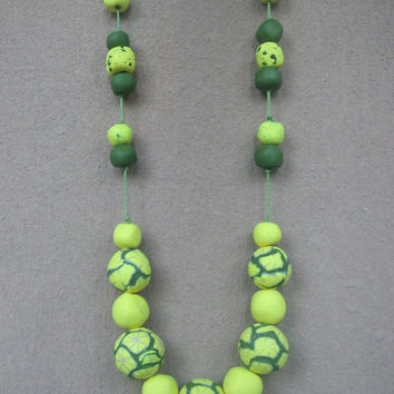 Yellow and green beaded necklace, Polymer clay necklace green and yellow beads, Lime green jewelry for women