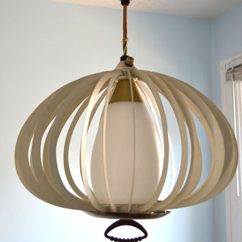 Retro Danish Modern Slatted Pull Down Pendant Light