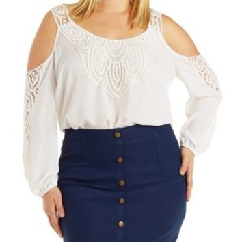 Plus Size Ivory Cold Shoulder Crochet Top by Charlotte Russe
