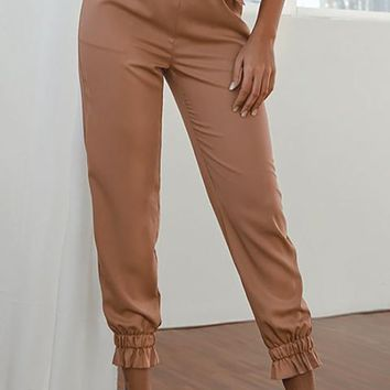Not Too Late Brown High Waist Drawstring Tie Belt Elastic Cuff Ruffle Pant