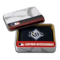 Tampa Bay Rays Trifold Leather Wallet (Black)