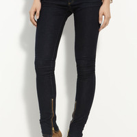 Rachel Zoe Leather Piped Skinny Stretch Jeans