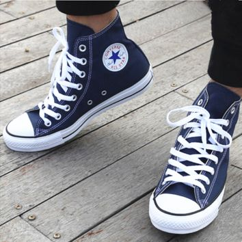 """Converse"" Fashion Canvas Flats Sneakers Sport Shoes Hight top Navy blue"