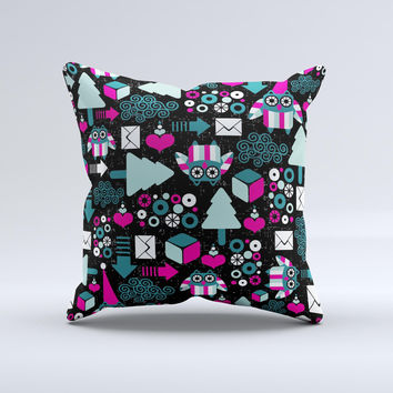 Pink & Teal Owl Collaged Vector Shapes  Ink-Fuzed Decorative Throw Pillow