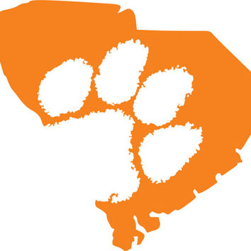 Clemson Tigers SC outline Sticker ~  Custom Decal ~  Tiger Paw ~ South Carolina