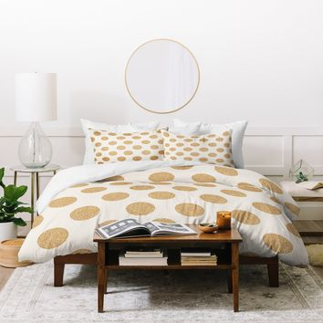 Allyson Johnson Gold Dots Duvet Cover