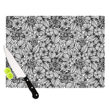 "Julia Grifol ""Candy Flowers In Black"" Gray White Cutting Board"