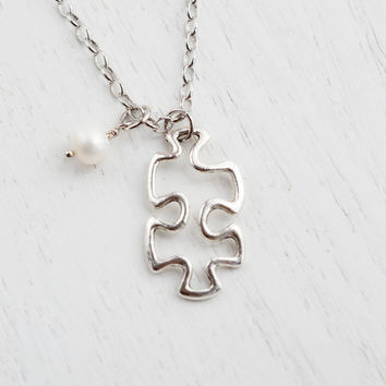 Puzzle Piece Charm Necklace,Wedding Bridesmaid Necklace,Puzzle Symbol,Missing Puzzle Piece,Autism,BFF Friendship Necklace,Fad Modern,Minimal