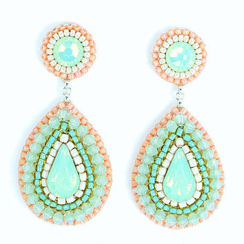 Mint peach earrings - mint green coral pink chandelier earrings - bridal wedding cocktail statement jewelry swarovski crystal unique gift
