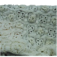 Flowers and Lace Crocheted Blanket
