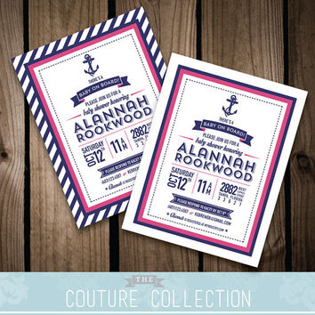 Nautical Baby Shower INVITATION - Baby on Board Shower Preppy Baby Shower Modern Nautical Theme  Customizable Printable DIY Digital File