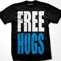 FREE HUGS Mens T-shirt, Big and Bold Funny Statements Tee Shirt, Small, Red