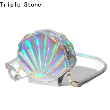 Triple Stone Holographic Crossbody Shoulder Bag Scallope Pearl Shell Shaped Leather Messenger Bag Women Laser Purse Handbag 2017