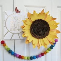 Giant paper sunflower wall art - floral decor - paper sculpture - Flower Taxidermy No.74