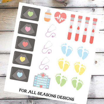 Pregnancy Planner Stickers, Ultrasound Sonogram Planner Stickers, Fits Erin Condren Planner