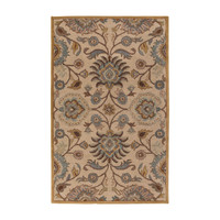 6 x 9 Ft Tufted Wool Area Rug Handmade Beige Blue Floral Jacobean Pattern