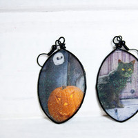 Black Cat Print Recycled Card Earrings, Halloween Jewelry