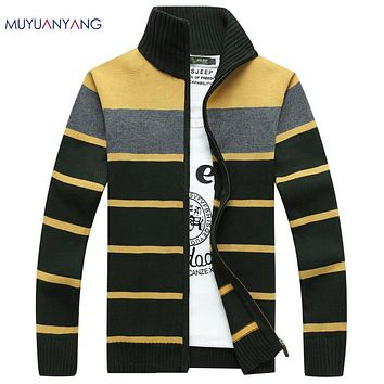 Warm Cardigans Sweaters For Men Winter Sweater Striped Stand Collar Men Knitwear Sweaters Fashion Men Sweaters Zipper