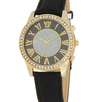 Portia Black Glitter Watch