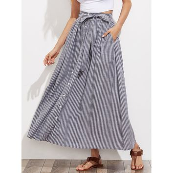 Grey Striped Maxi Skirt