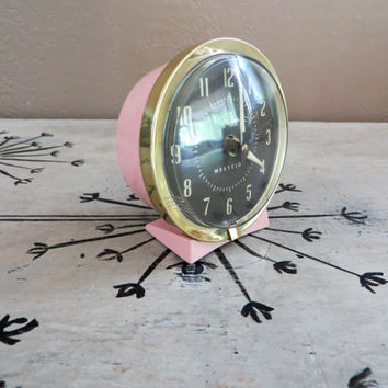Vintage Clock Vintage Alarm Clock Baby Ben Clock Westclox Pink Clock Pink Alarm Clock Wind Up Clock Pin Wind Up Clock