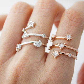Crescent moon and Star Cubic ring in 3 colors, R0459S