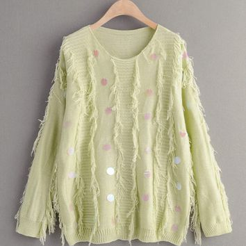 Contrast Sequin Fringe Trim Sweater
