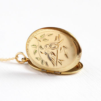 Vintage Lovebird Locket - Retro 12k Yellow Gold Filled Necklace - 1960s Mid Century Decorative Oval Pendant Bird Photograph Jewelry for Her