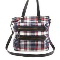 Double Zipper Flannel Plaid Tote Bag by Charlotte Russe - Red Combo