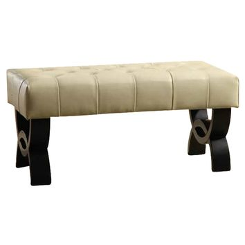 """Central Park 36"""" Tufted Cream Bonded Leather Ottoman."""