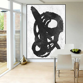large abstract acrylic painting on canvas, modern original painting black and white,, mid century large abstract art, Contemporary Painting