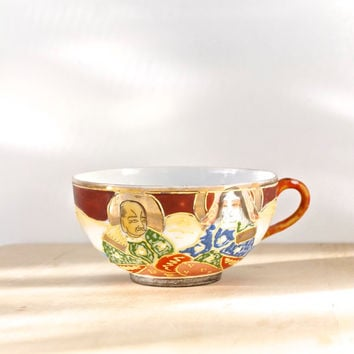 Vintage Japanese Teacup Eggshell Porcelain Satsuma Style Hand Painted
