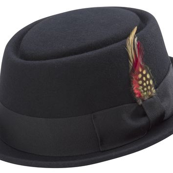 Montique Men's Stingy Brim Teardrop Dent Pork Pie Wool Felt Black Hat With Feather H-45