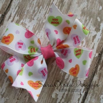 Pinwheel Hairbow, Valentine's Day, Conversation Hearts, Toddler Hair Bows, Hair Clips,