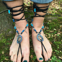BAREFOOT Sandals, Turquoise & Silver, Turquoise Barefoot Sandals, Beaded Barefoot Sandals, Peace Sign Jewelry, Butterfly Jewelry, Gift, OOAK