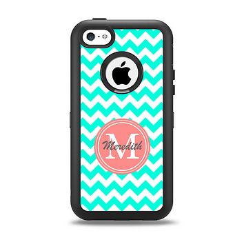 Teal Green Chevron Name Script Monogram on Coral Apple iPhone 5c Otterbox Defender Case Skin Set