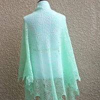 Knit shawl, lace shawl in mint color, gift for her