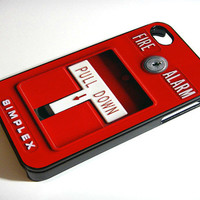 Fire Alarm Pull Down - iPhone 4 Case, iPhone 4s Case and iPhone 5 case Hard Plastic Case