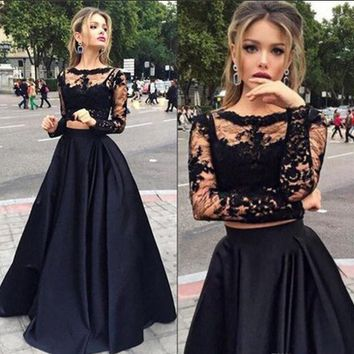 Scoop Neck Black Tulle Elastic Woven Satin Appliques Lace Long Sleeve Two Piece Prom Dress - www.dressfashion.co.uk