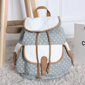 Back To School College On Sale Comfort Hot Deal Casual Winter Stylish Pattern Lace Embroidery Canvas Backpack [8070740551]