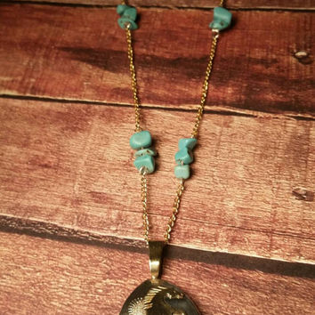 """Turquoise beaded necklace long turquoise chip necklace horse necklace gold necklace wild horse necklace horse pendant silver pendant 30"""""""