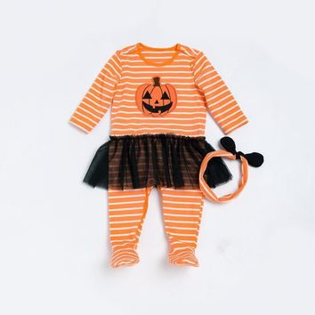 Halloween Party Baby Romper Autumn Winter Warm Baby girl boy Clothing Striped Long Sleeves Tutu Jumpsuit Pumpkin Newborn Outwear