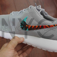Nike Roshe Run Grey White Aztec Tribal V3 Edition Custom Men & Women