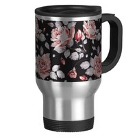 Chic Stylish Pink Rose Flower Pattern Travel Mug
