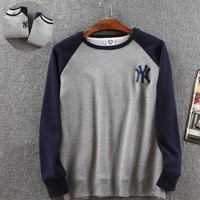 Trendy Ny Embroidered Navy Blue Men's Long Sleeve Sports Sweatershirt With Velvet