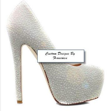 Custom Wedding Prom- White Pearl Closed Toe Platform Pumps Sizes 5.5-15