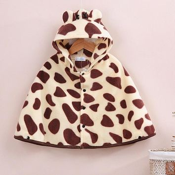 Hooyi Girls Shawl Infant Coats Hooded Mantle Blanket Jackets Leopard Baby Clothes Outfits Fleece Baby Boy Cloak Newborn Cape